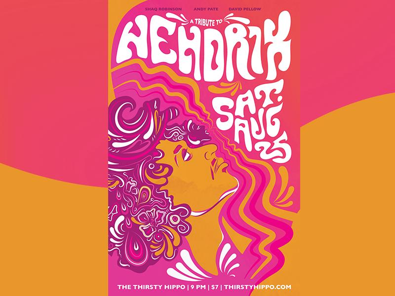 A Tribute to Hendrix hand lettering retro groovy poster jimi hendrix gig poster music mississippi illustrator illustration hendrix