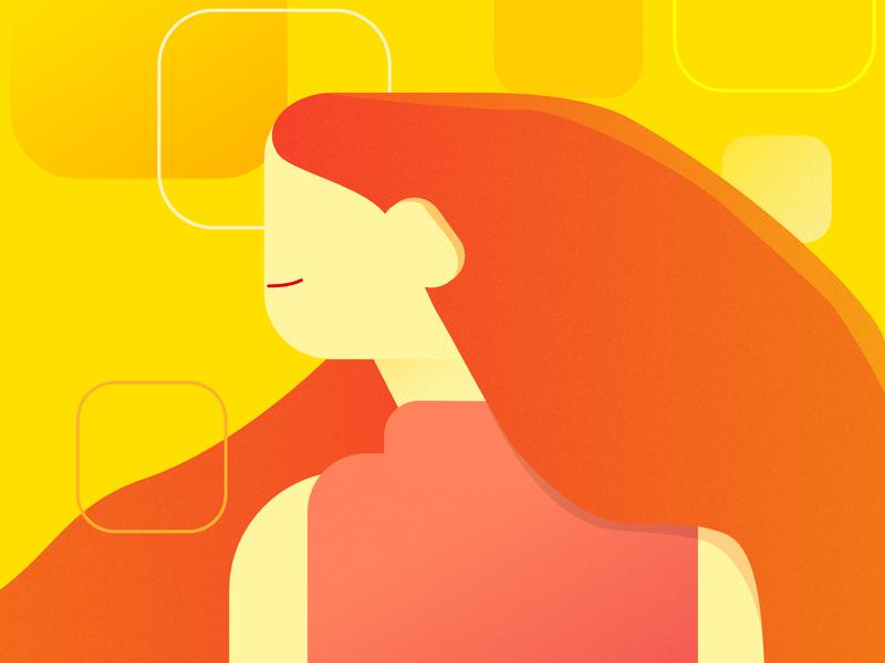 orange. design studying study woman illustration yellow orange woman illustration art vector illustration illustrator
