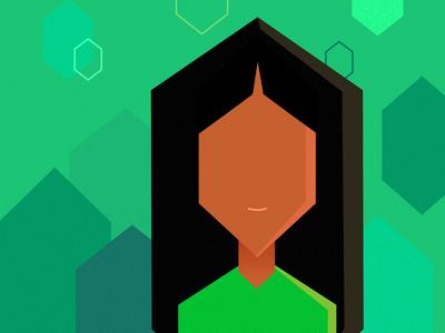 green. study verde mulher hexagonal hexagon green woman ilustra ilustracao illustration