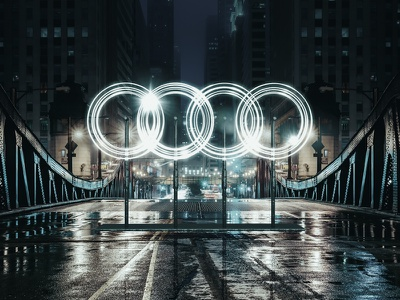 electric Audi rings comp cinema4d installation machine logo electric rings audi