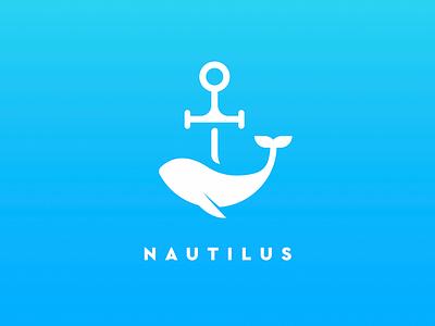 Nautilus Logo illustration water new logo gradient blue dribbble