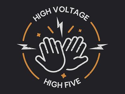 High Voltage High Five voltage electric monogram logo design badge dribbble