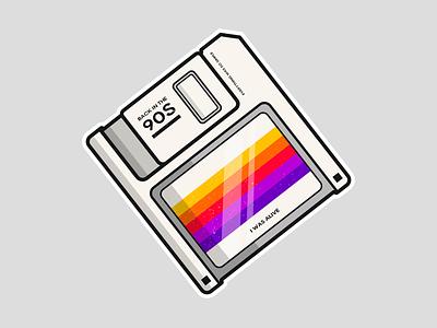 Retro Disk design clean rainbow floppy disk 90s retro vector illustration dribbble