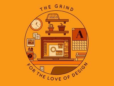 The Grind graphic design illustration work desk grind the design adobe illustrator linework geometric vector