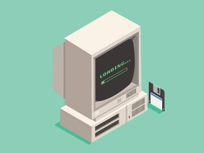 Monochrome Desktop pc loading retro floppy disk monochrome desktop old vector adobe illustrator