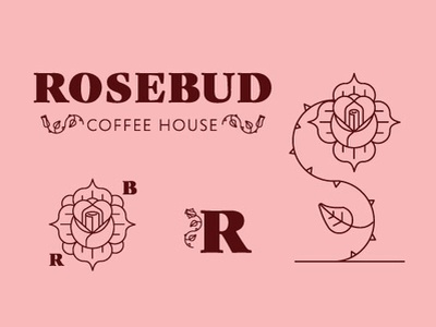 Rosebud illustration adobe illustrator tattoo linework flower logo branding pink flower rose logo rosebud rose