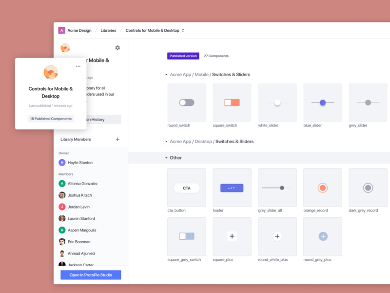 Collaborate using ProtoPie's Interaction libraries microinteractions libraries designsystem prototypingsoftware protopie