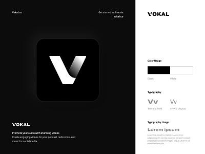 Vokal.co Logo app icon podcast logo logo design logodesign branding design brand identity v logo brutalist typography startup logo brutalism brutalist design branding logo