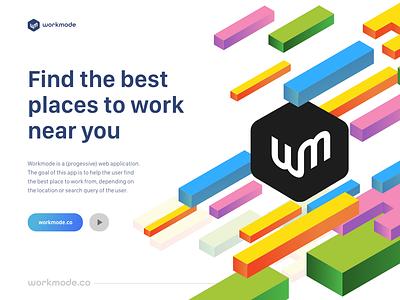 Workmode - find the best place to work indie dev digital nomad work landing page logo ui development ui