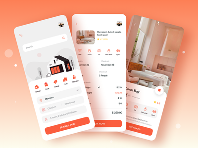 Homestay APP2 2020 design redesign red room scheduled booknew hotel icons illustration apple mobile ux card app ui
