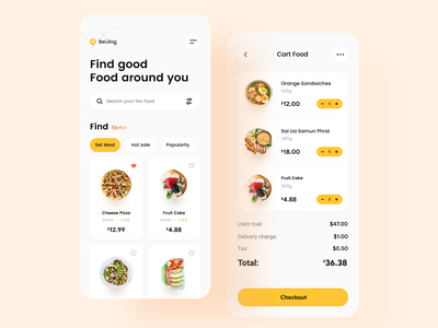 Food Delivery App card search map cart pizza yellow food design iphonex apple mobile ui