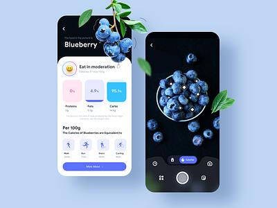 AI scans calories movement sketch camera blueberry calorie scans ux app mobile design ios illustration iphonex card ui