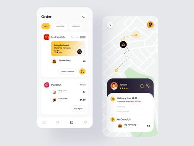 Food Delivery App3-order yellow delivery food and drink hamburg piazz order map icons ios iphonex apple mobile card uiux uidesign ui