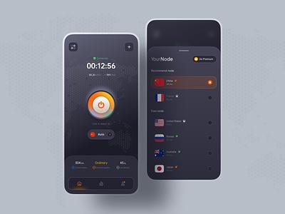 VPN Mobile App icons ios userinterface connect server clean cards vpn app nodes vpn app ux card ui