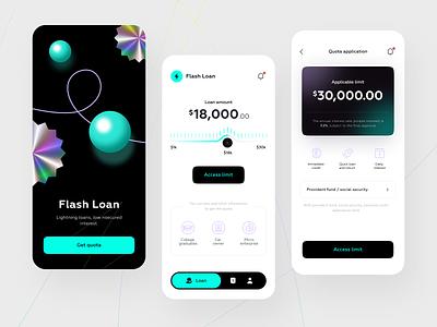 Flash Loan APP card logo ux user interface user experience balance finance fintech illustration mobile app 3d