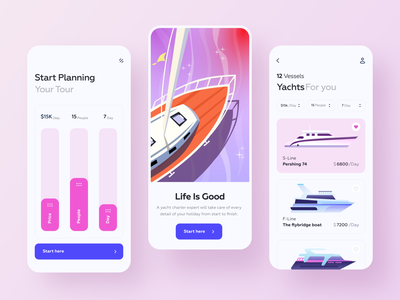 Yacht Booking Service Application vessels water ship charter motor app ux card ui cruiser booking rent rental app service travel yachts yacht club illustration interface