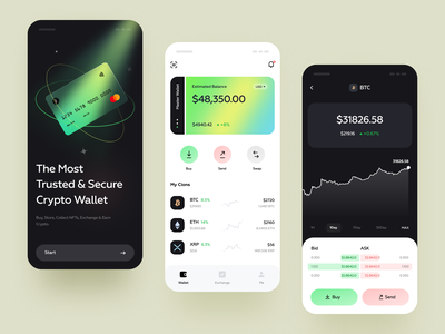 Crypto Wallet Mobile chart wallet app tokens ethereum interface wallet crypto finance defi bitcoin design blockchain banking investment app ux card ui
