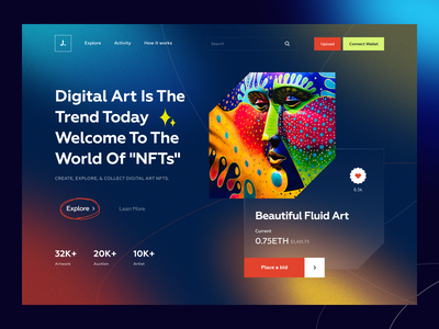 NFT Landing Page Website neon modern web platform gallery token ethereum crypto nft nft art gradient landing page noise bold doge coins bitcoin crypto art ui cryptocurrency