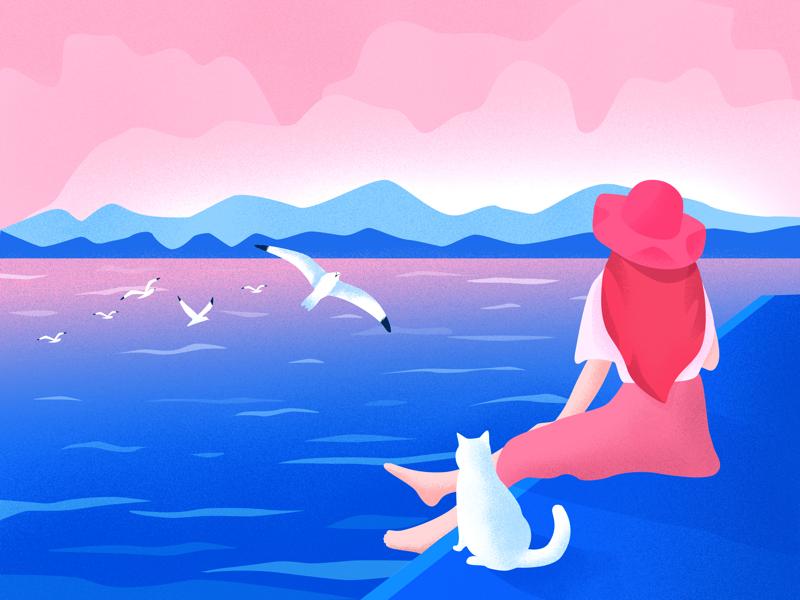 Miss summer ui noise seagull sea pink blue girl cat illustration