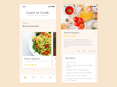 Culinary treasure menu food delicious pasta ux ui iphonex app cook