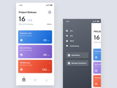 Days Matter iphonex management date hiwow matter card apple app ux ui