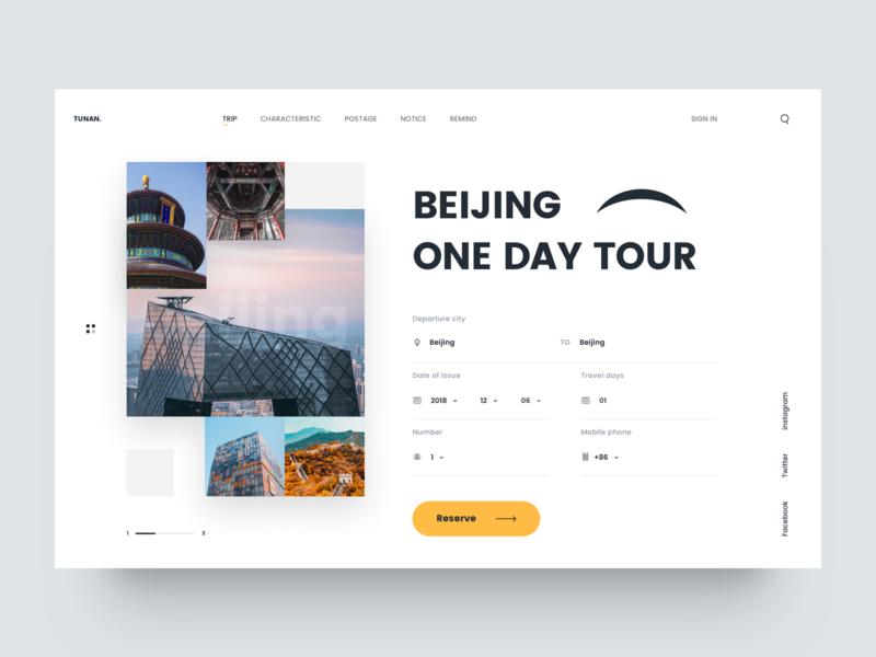 One Day Tour UI yellow web travel site beijing design ux ui