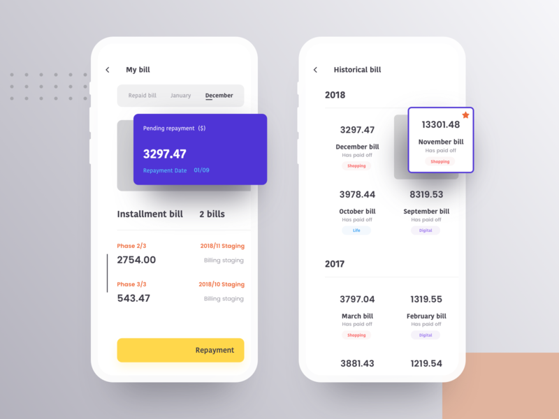 My Bill repayment stages design violet consumption ios iphonex ux ui
