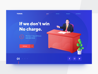 Lawyer web page law flower telephone table mexico red blue illustration ux ui