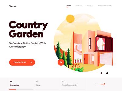 Country Garden Web real estate house illustration house garden tunan webdesign web illustration