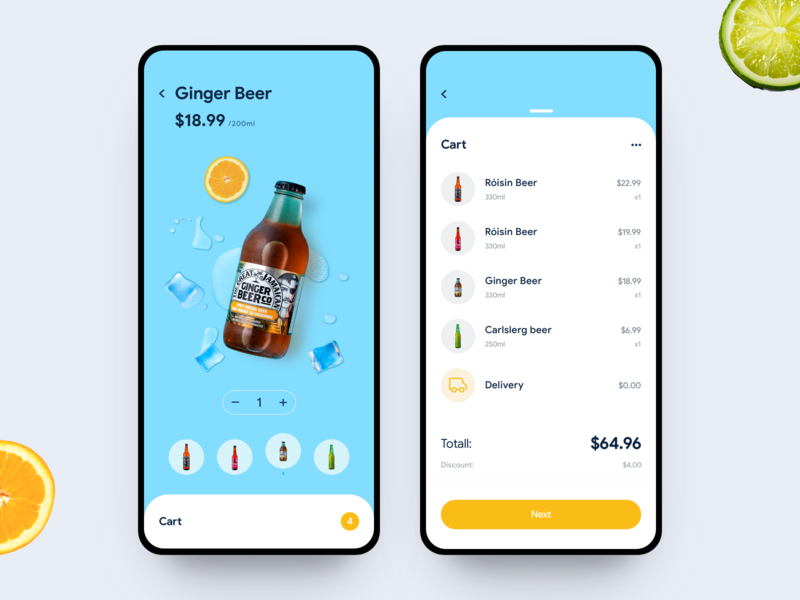 Beer Shop iced lemon ice mobile ui design app tunan ginger beer shopping cart shopping cart blueprint beer shop