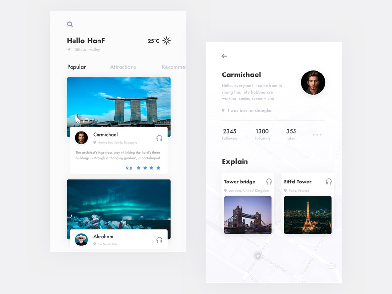 Travel app ux ui layout the scenery the map card tourism scenic spots concept