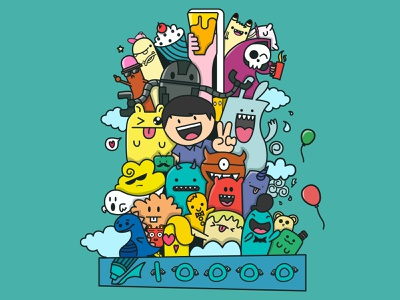 10000 followers of DWTD cute illustration color