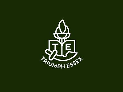 Triumph Essex torch initials flame fire sword book triumph essex society money university