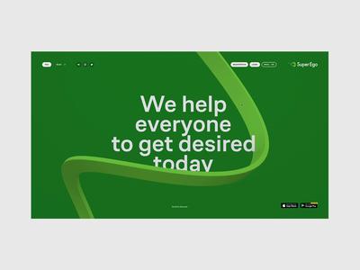 Super Ego — main page site clean ui ux web minimal fullscreen ribbon 3d website webdesign