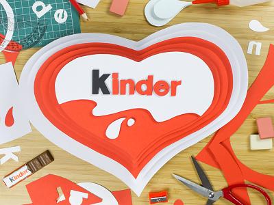 Kinder Instagram launching france red heart set design paper papercraft paper craft instagram kinder chocolate