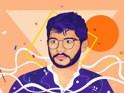 Nerdy Raaja! nose face hairs sunglasses digital portrait portrait character vector adobe photoshop graphics grain illustrator indian caricature artwork digital art digitalart illustration digital illustration