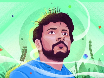 Shubh J hairs eyes nose ears face blue green graphic drawings vector artwork digital artwork illustrations human portrait adobe photoshop digital painting digital art illustrator illustration