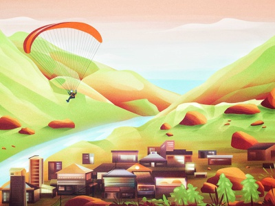 F    L    Y parachute village graphic design green sky design art art direction adobe photoshop adobe high flying fly big dream photoshop digital art vector illustration artwork