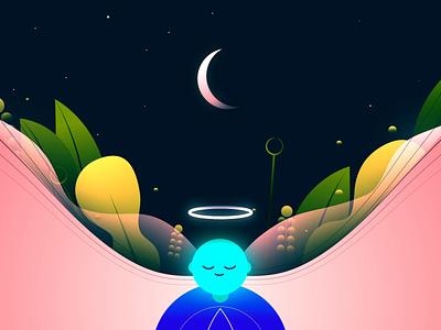 P E A C E  of  M I N D fluid green plants moon night sky calmness calm mind peace digital art art direction design vector art artwork illustration motion graphics graphic design animation