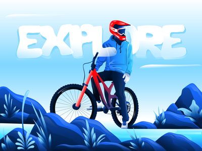 E X P L O R E urban modern safety helmet cycle digital art art direction design adobe illustrator branding inspire explore adventure bike graphic design art vector artwork illustration