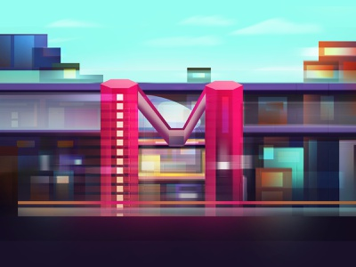 Metro Station letters letter letter m day light lights building travel train metro station metro graphics design art artist vector digital art design graphic design artwork illustration