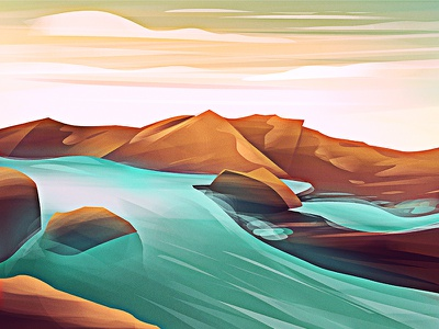 Another Day Another Illustration! drawing waterfall sea rocks sand water river vector art graphics mountains art graphics design artist vector digital art graphic design design art direction illustration artwork