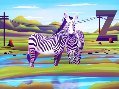 Two Zebras - Illusion - 01 mountains green water clouds illusionist illusions letter z optical illusion character animal zebra illusion graphics design vector digital art graphic design design art direction illustration artwork