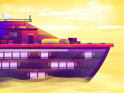 Destination. purple letter s digital sun water clouds character cruiser cruise ship graphics graphics design artist vector digital art graphic design design art illustration artwork