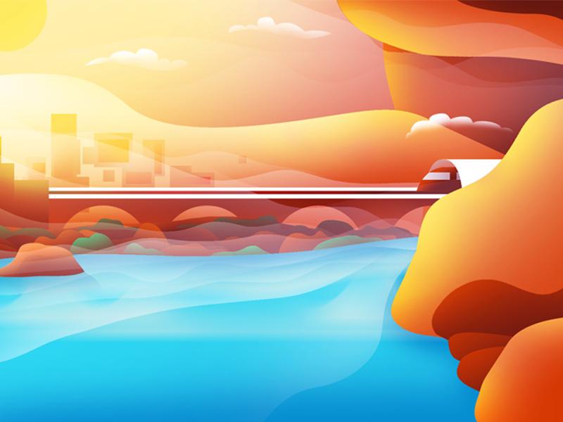 Illusion - 02 clouds path metro train rocks orange digital art digital digitalart illusionist illustrator illusions illustration flare sun water river mountain optical illusion illusion
