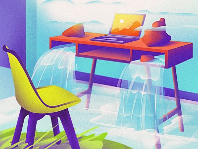 Water - 01 water clouds sun table rocks chair laptop desk river design mountains artist vector artwork digital art art direction graphic design illustration art