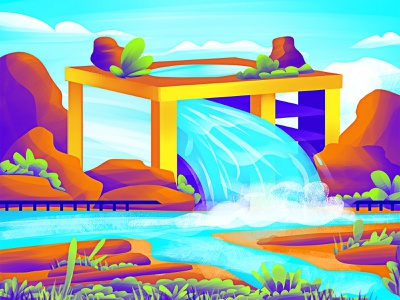 Water building photoshop water waterfalls waterfall building rocks inspiration motivation creativity graphics design artist digital art vector graphic design design artwork illustration