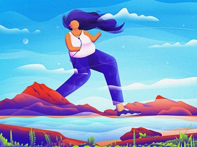 Run and Music!! concept music art music run cycle running women girl character girl water mountains graphics design artist vector digital art graphic design design art direction art artwork illustration