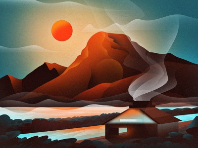 SUNSET!!! stone view digitalart digital portrait hut sun suns sunshine sunset water mountains graphics design digital art vector graphic design design art artwork illustration
