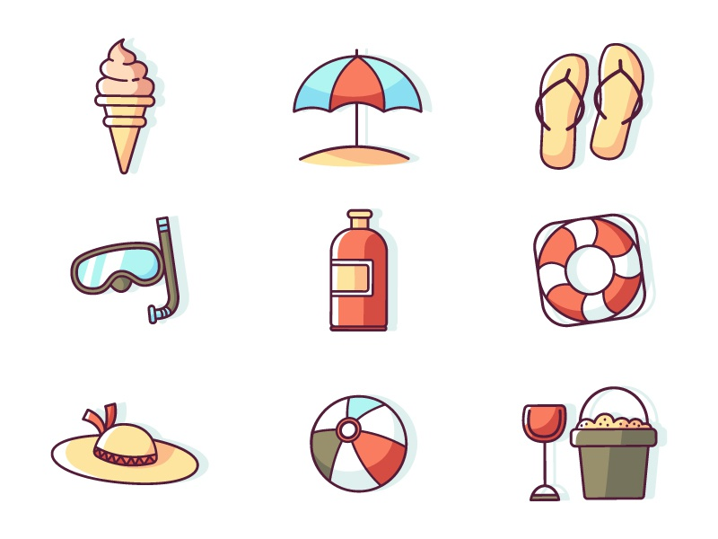 Download Summer icon set freebie